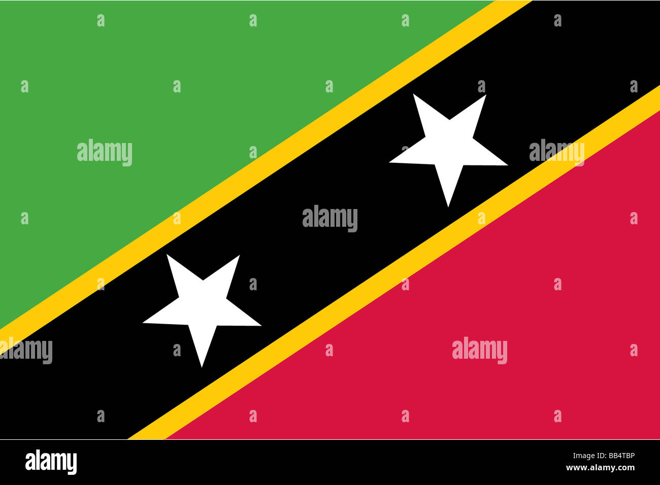flag of Saint Kitts and Nevis - Stock Image