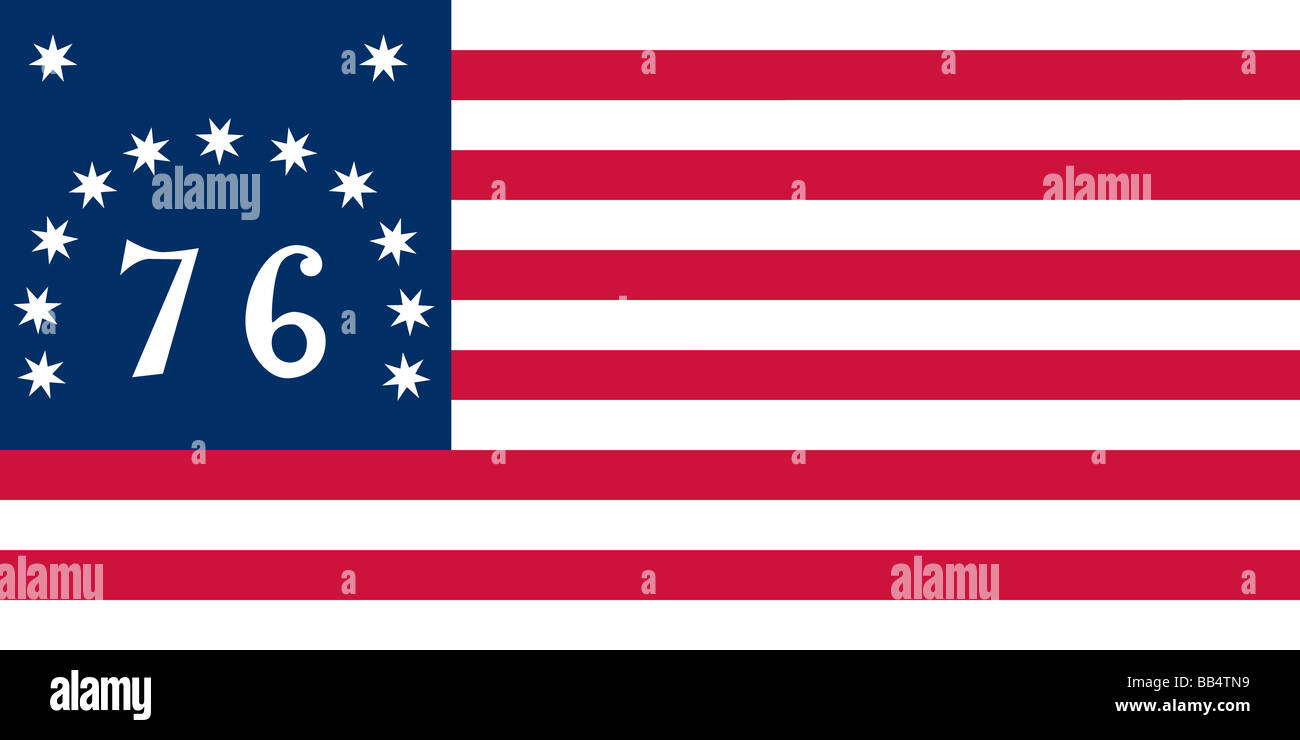 """Historical flag of the United States of America. The Bennington, or """"76,"""" flag was probably flown at the battle Stock Photo"""