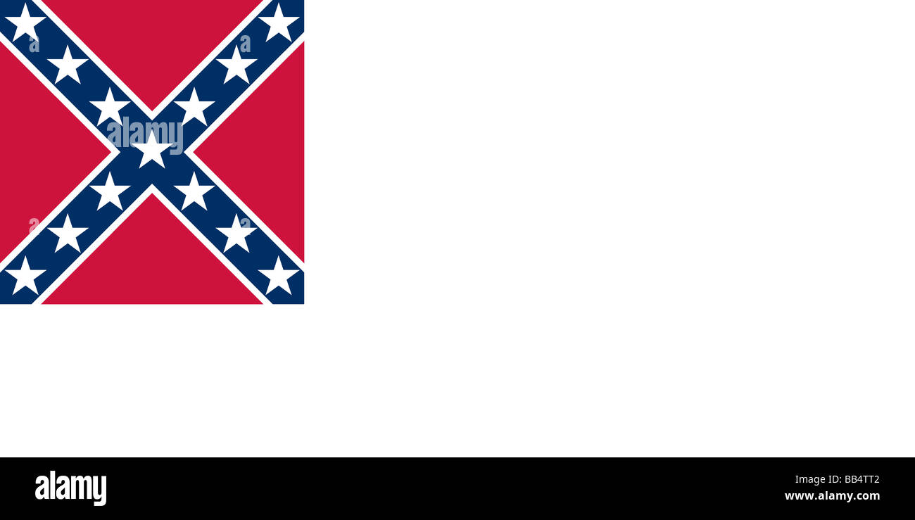 Historical flag of the United States of America. The Stainless Banner, the second flag of the Confederate States - Stock Image