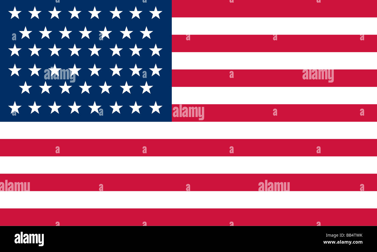 Historical flag of the United States of America. The 46-star American flag became official July 4, 1908, reflecting - Stock Image