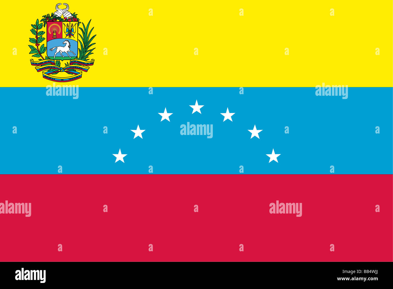 Venezuela's flag from 1864 until 2006, when an eighth star was added to represent the historical province of - Stock Image