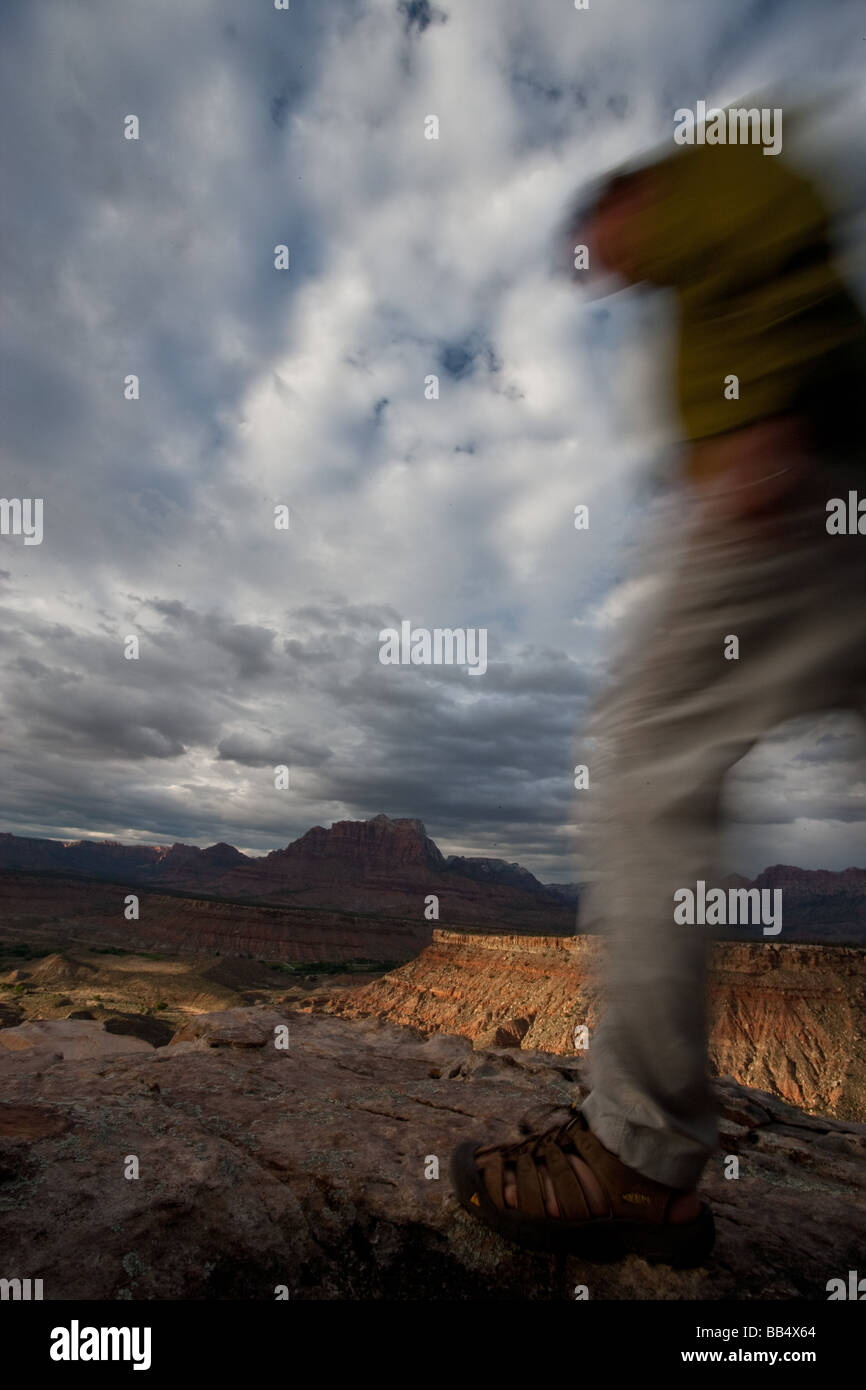 hiker on rim overlooking Zion National Park - Stock Image