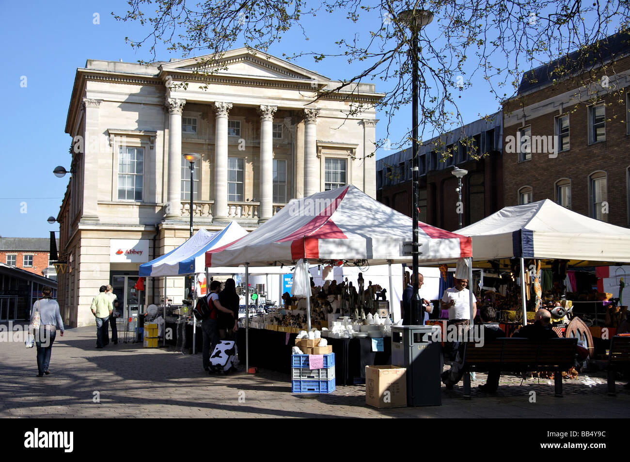 Outdoor market, Cornhill, Lincoln, Lincolnshire, England, United Kingdom - Stock Image