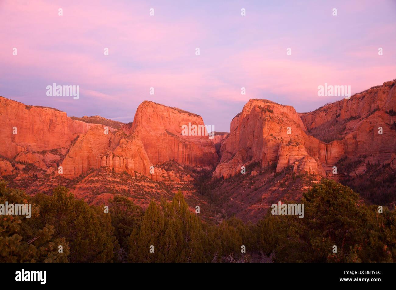 Kolob Canyon Overlook Zion National Park Utah Nagunt Mesa left center Timber Top Mountain right Stock Photo