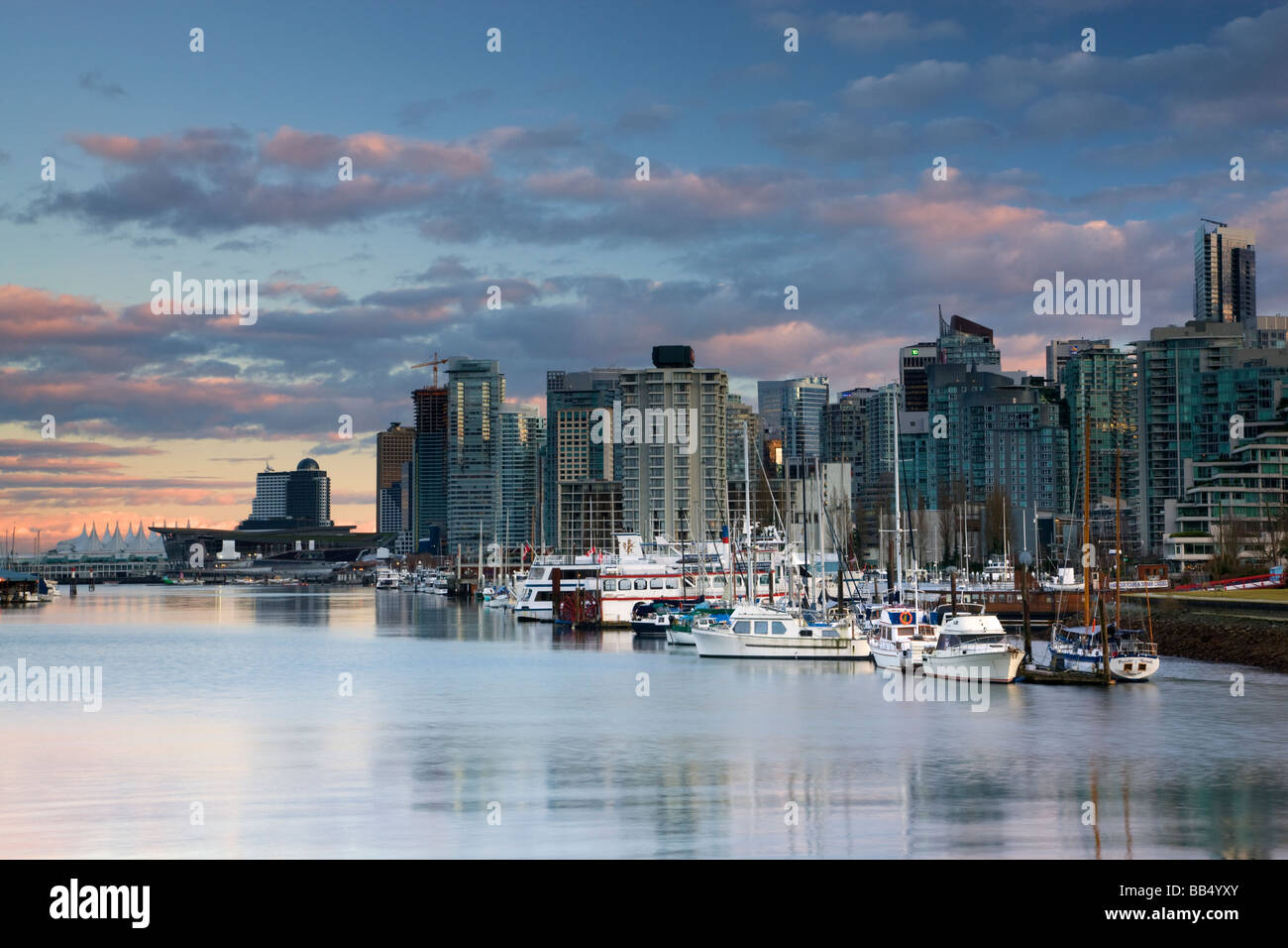 The city skyline of Vancouver host of the 2010 Winter Olympics British Columbia Canada - Stock Image