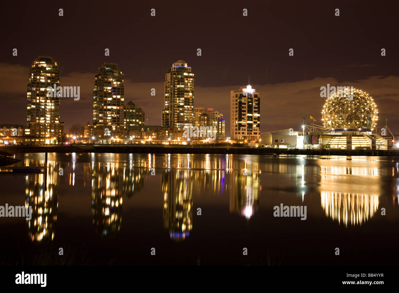 The city skyline of Vancouver and Science World British Columbia Canada - Stock Image