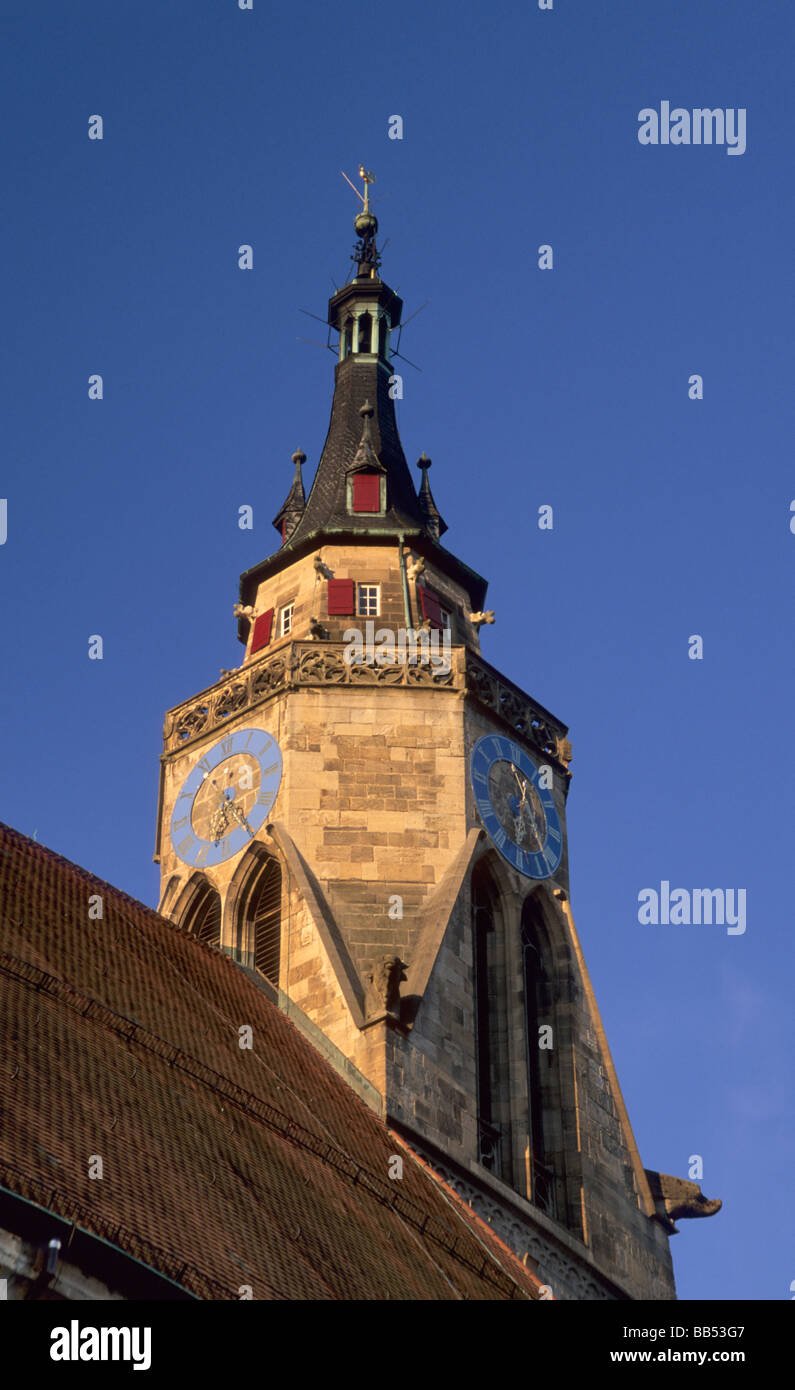 Tower of Collegiate Church Stiftskirche in Tübingen Baden Württemberg Germany - Stock Image