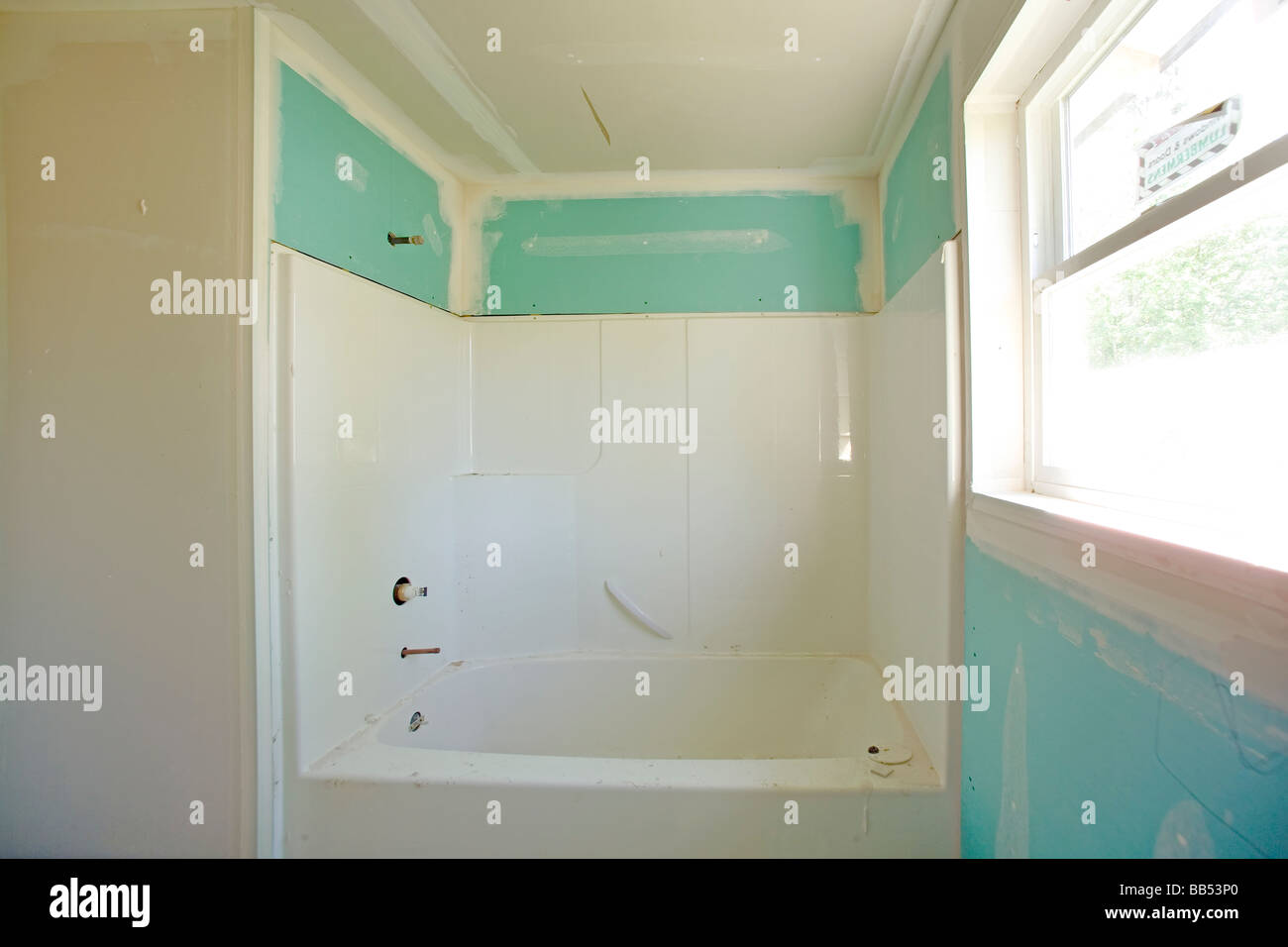 Drywall Is Used In New Residential Construction In Bathroom.   Stock Image