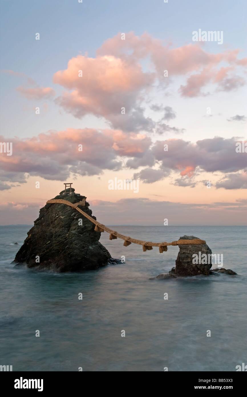 Wedded Rocks, Meoto Iwa, Futami, Ise Shima, Chubu, Honshu, Japan, Asia - Stock Image