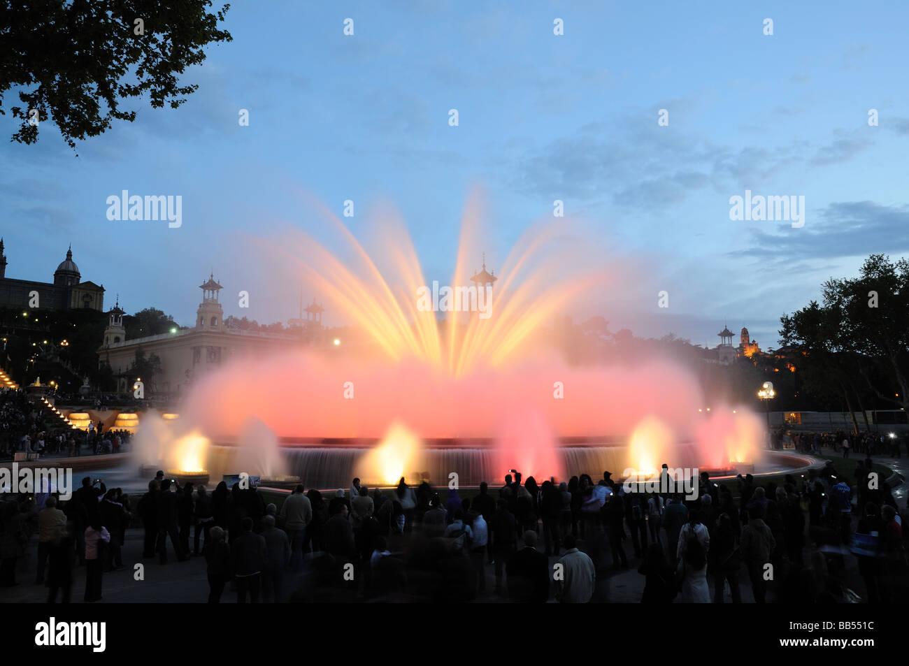 Font Magica - Magic Fountain in Barcelona Spain - Stock Image