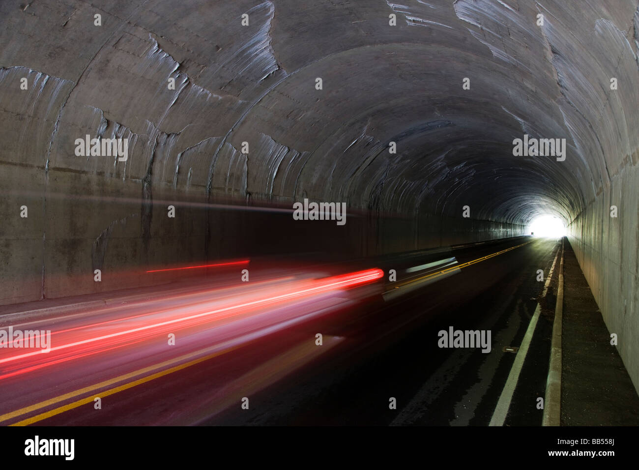 The Skyline Drive tunnels by Mary s Rock & winds along the Blue Ridge Mountains in Shenandoah National Park - Stock Image