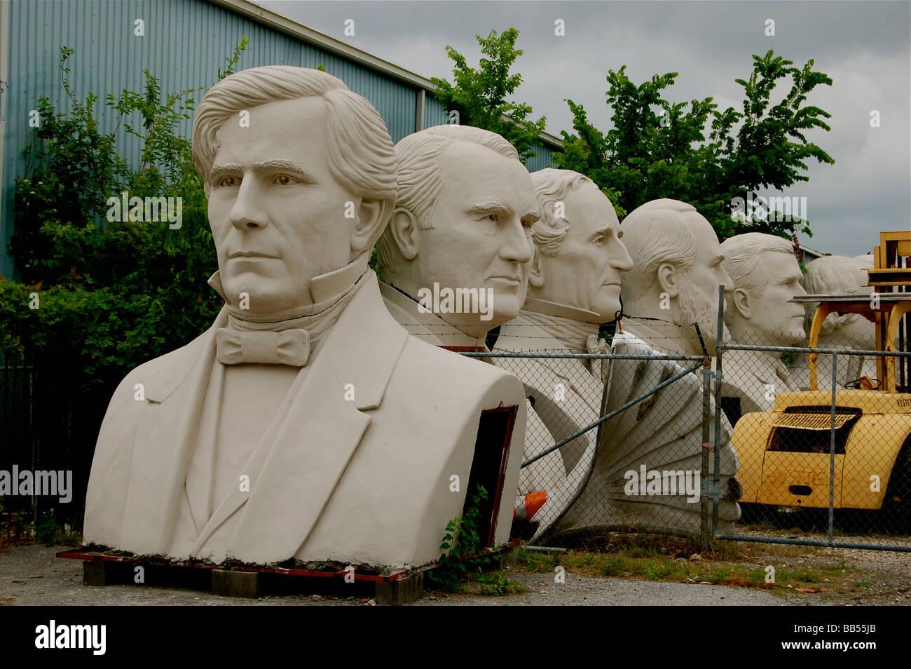 President's Heads at David Adicke's Studio in Houston, Texas Stock Photo