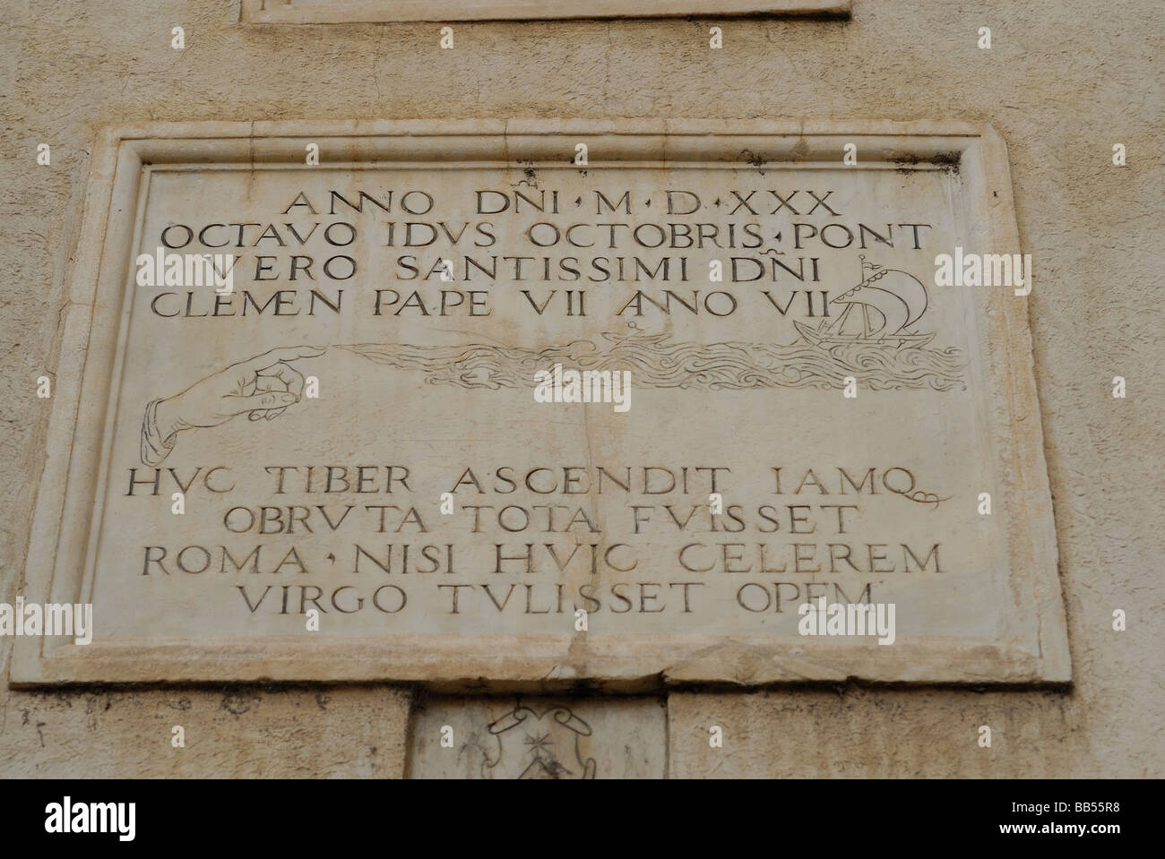 S. Maria della Minerva Church, Rome, Italy. On the church wall the indications about the ancient floods of Tiber - Stock Image