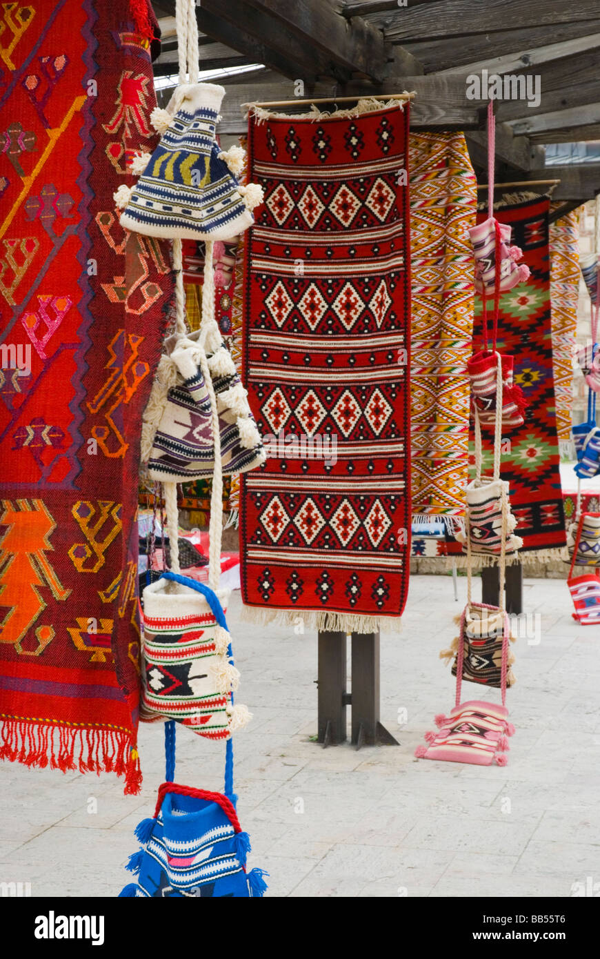 Rugs and other traditional souvenirs in Skopje Macedonia Europe - Stock Image