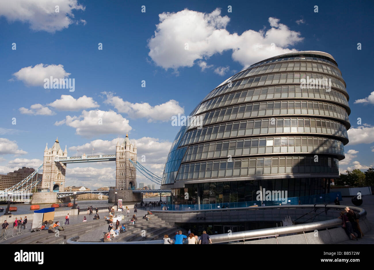 City Hall Greater London Authority Building by Norman Foster with Tower Bridge Southwark London - Stock Image
