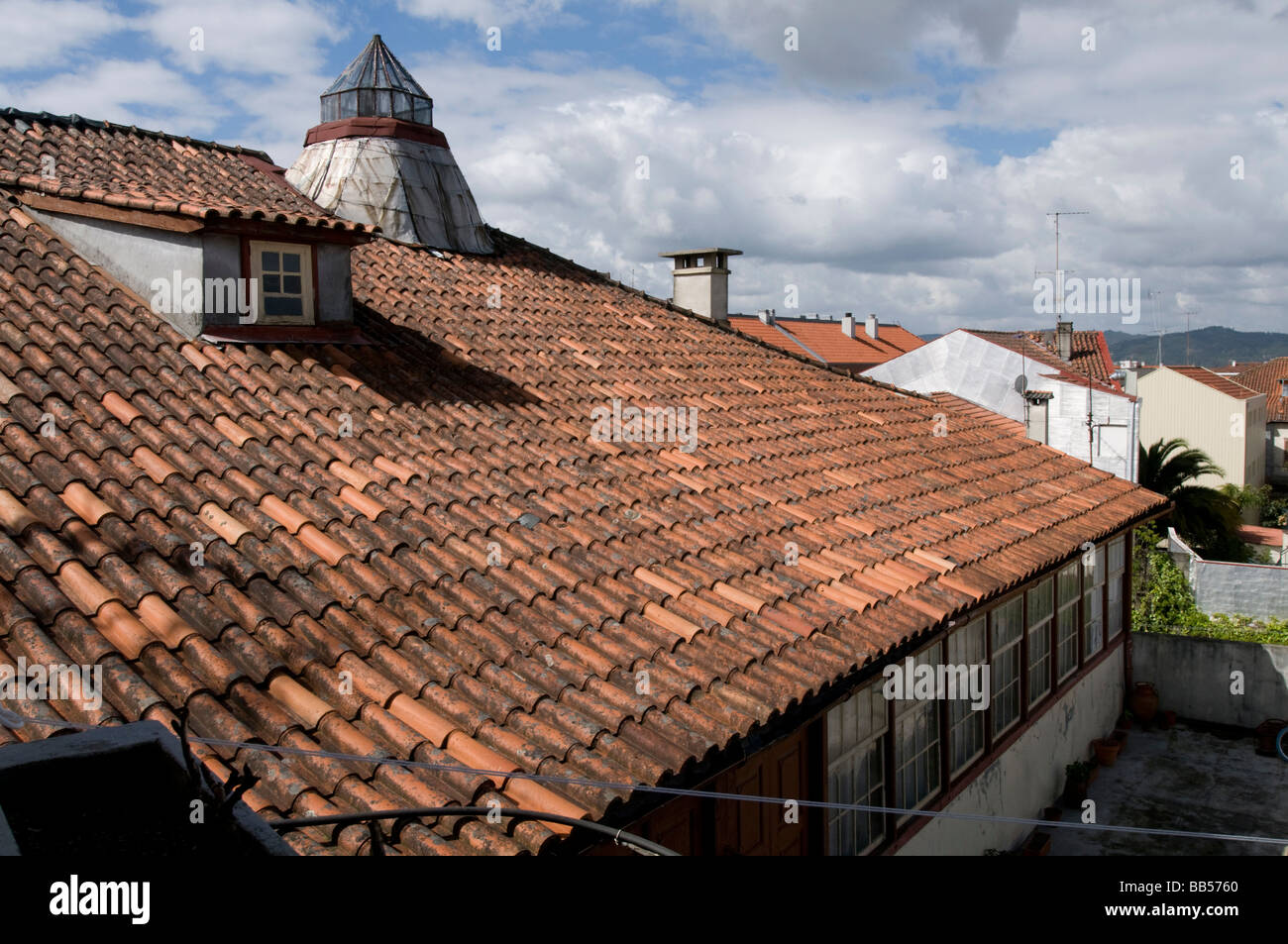 tiled roof in Portugal - Stock Image