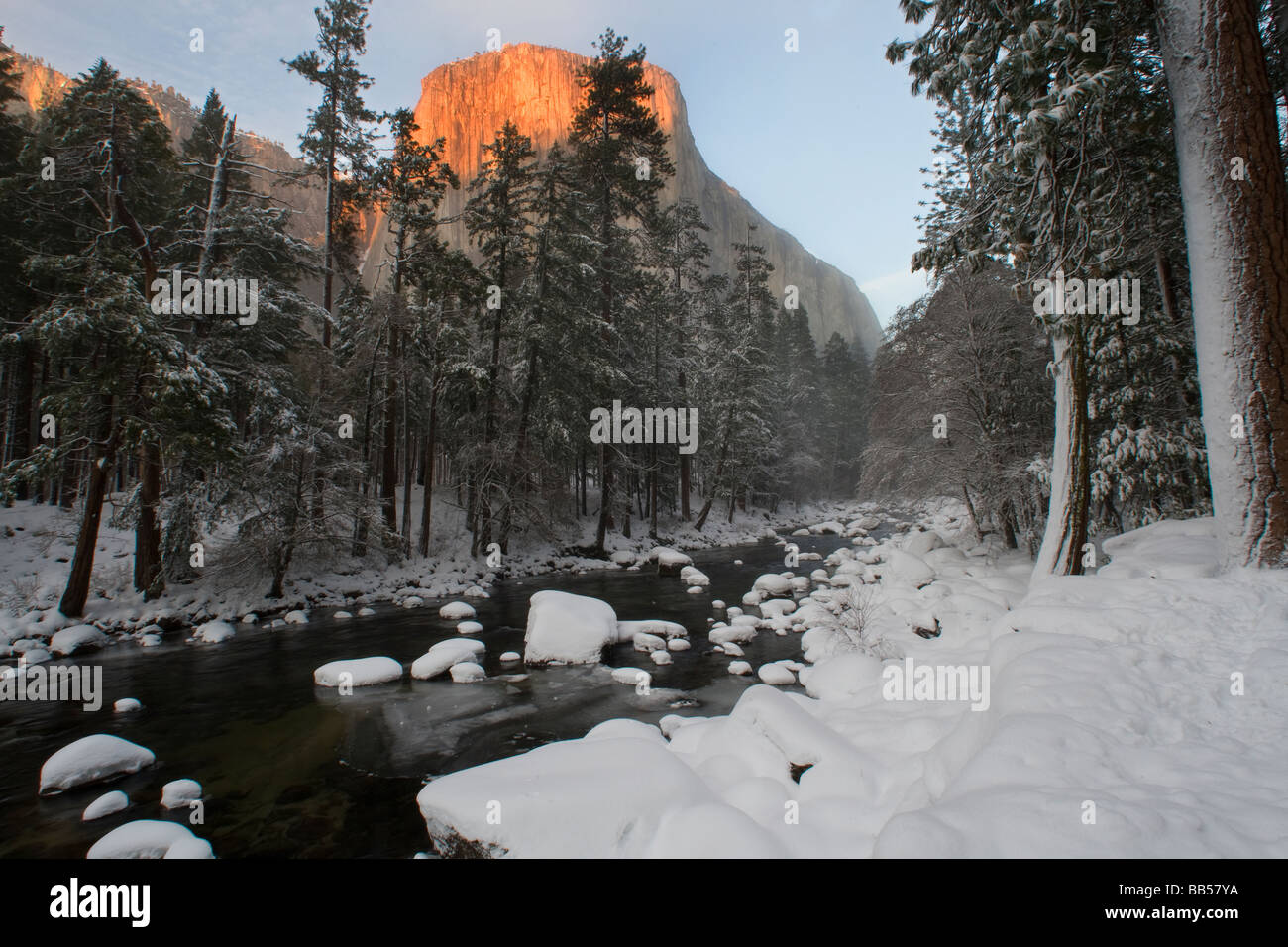El Capitan and the Merced River during winter in Yosemite National Park. Stock Photo