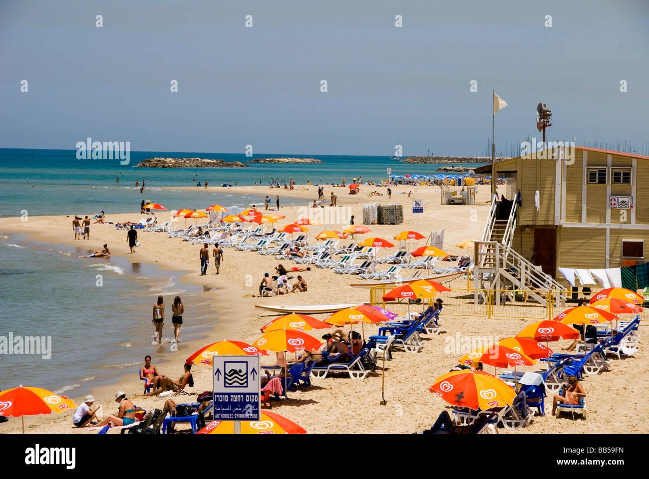 tel aviv beach, Israel - Stock Image