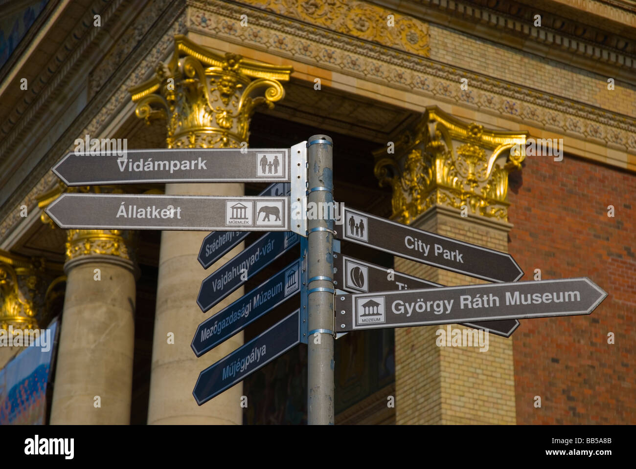 Signs at Hösök tere square in Budapest Hungary Europe - Stock Image