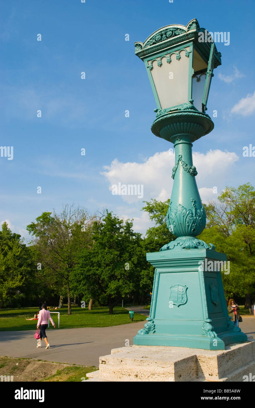 Lamppost at Varosliget the City Park in Budapest Hungary Europe - Stock Image