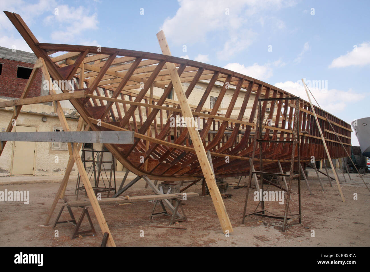Hand Building Wooden Boats In Alexandria Egypt Stock Photo