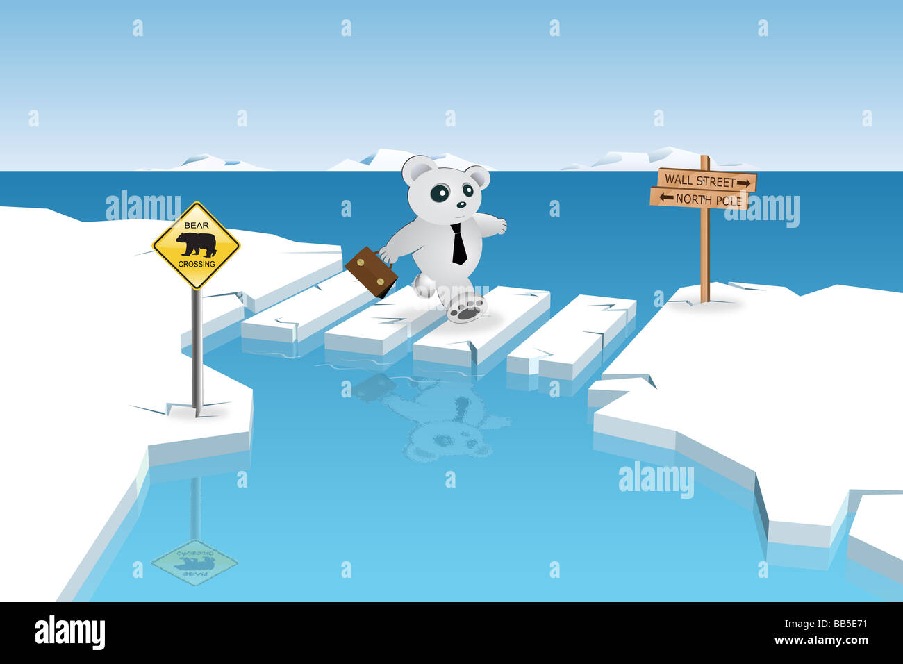 Bear Market is Crossing - Stock Image