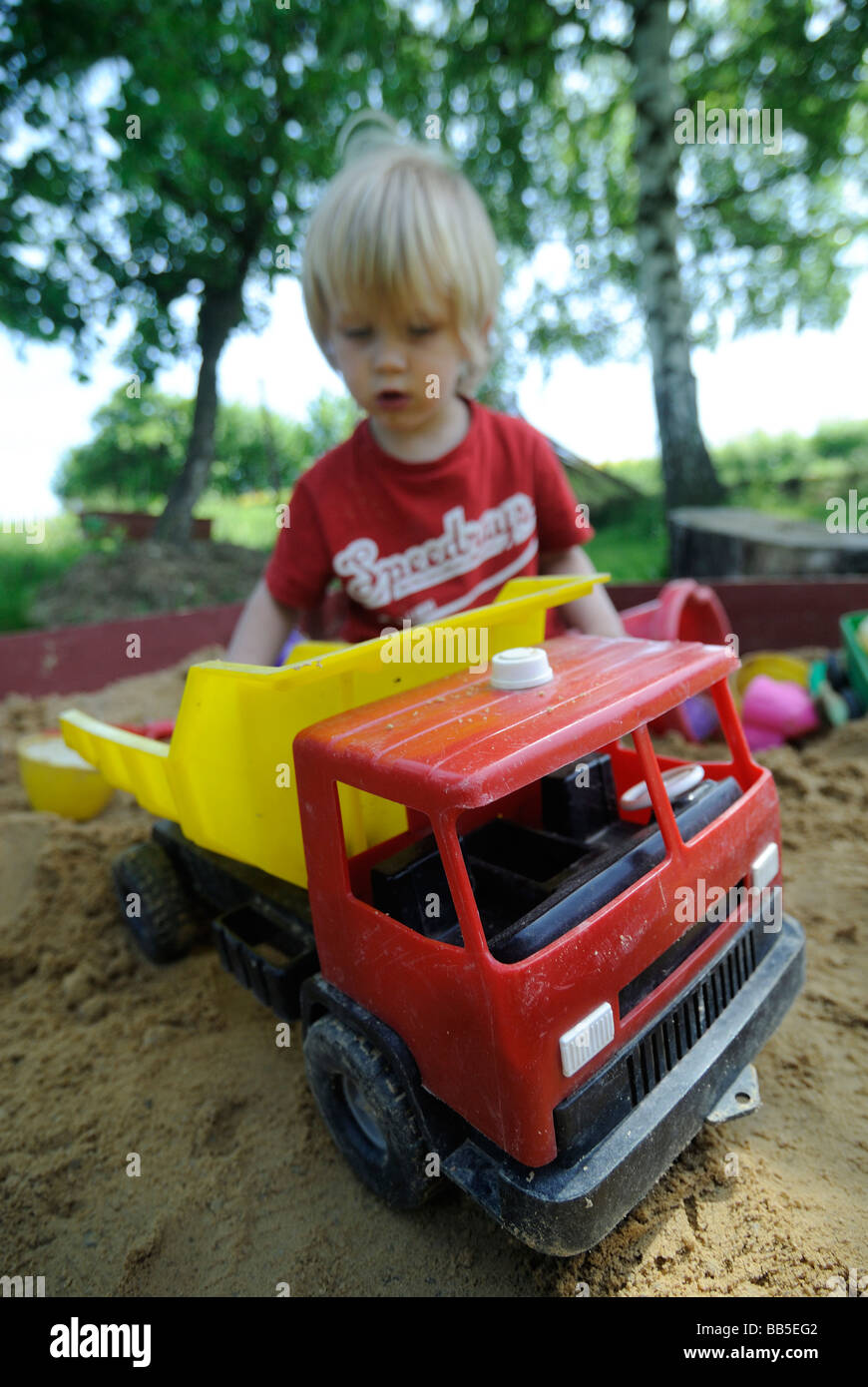 Baby Boy Boys In Sand Pit Playing Toys Car Cars Vehicle Playground 2