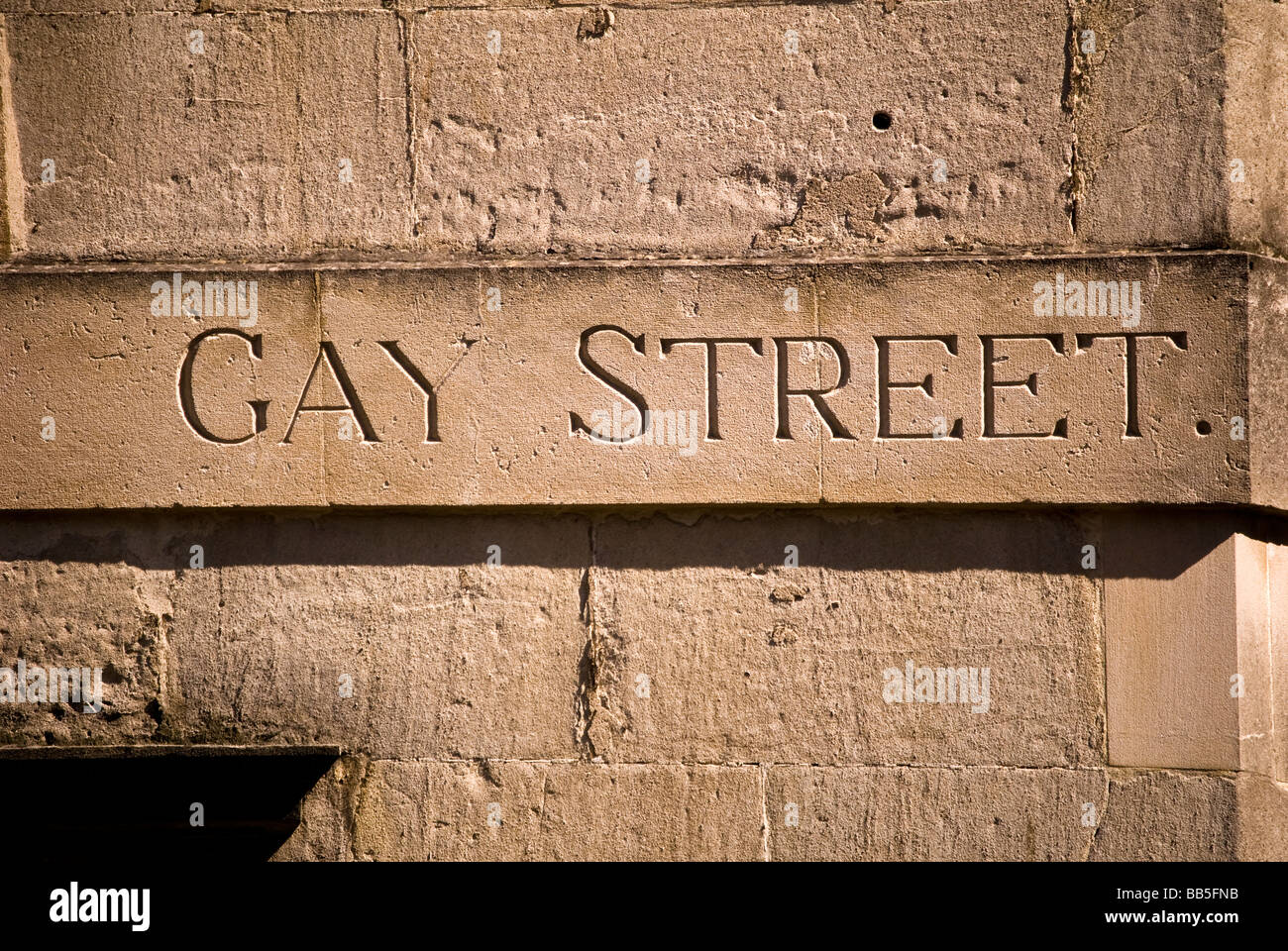 The name 'Gay Street' in Bath carved in stone. - Stock Image
