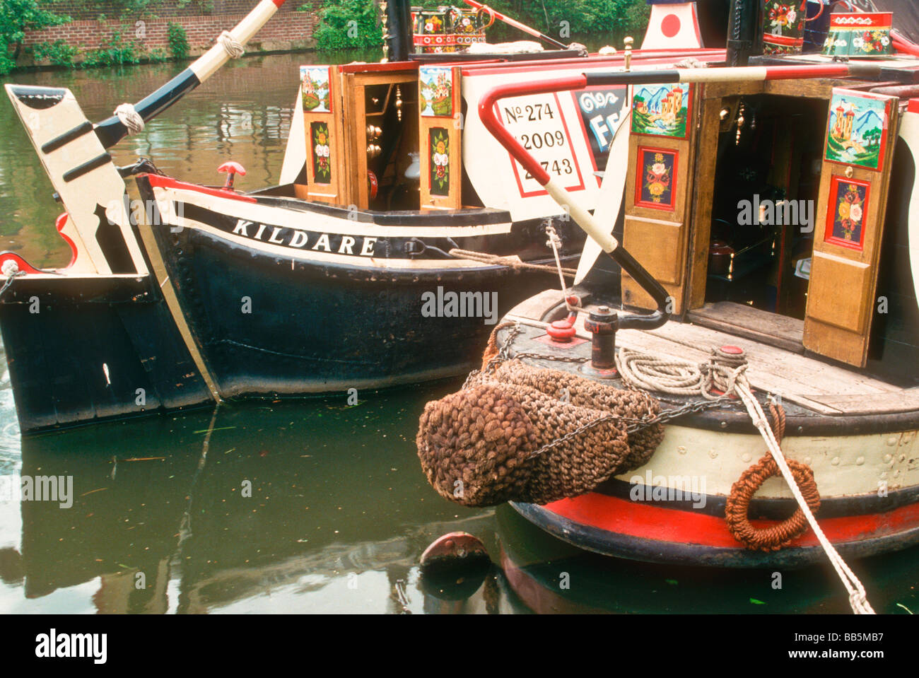 The 1908 built FMC steam narrowboat President and butty Kildare Grand Union Canal Batchworth Hertfordshire UK - Stock Image