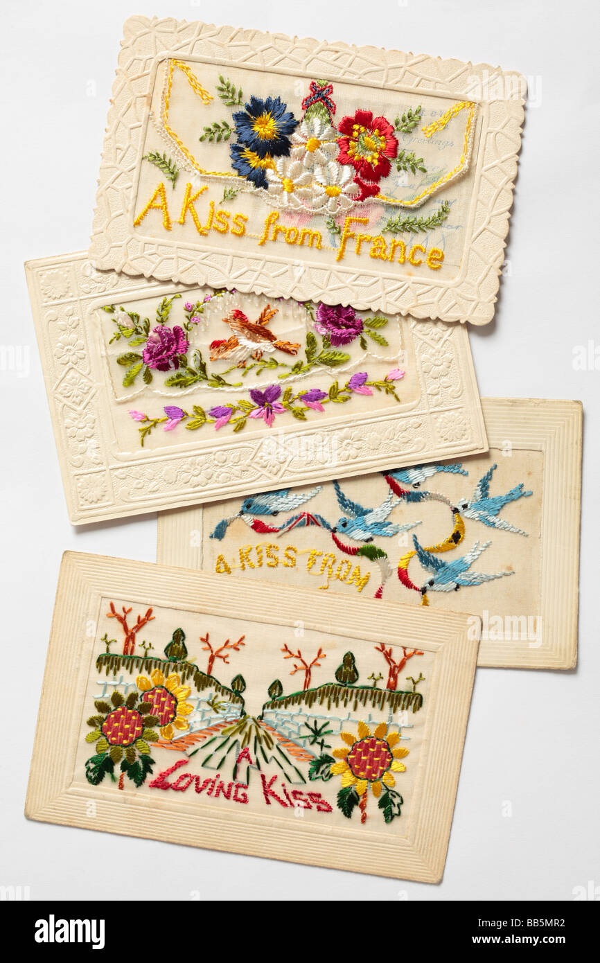 Old silk embroidered Christmas cards from WW1. - Stock Image