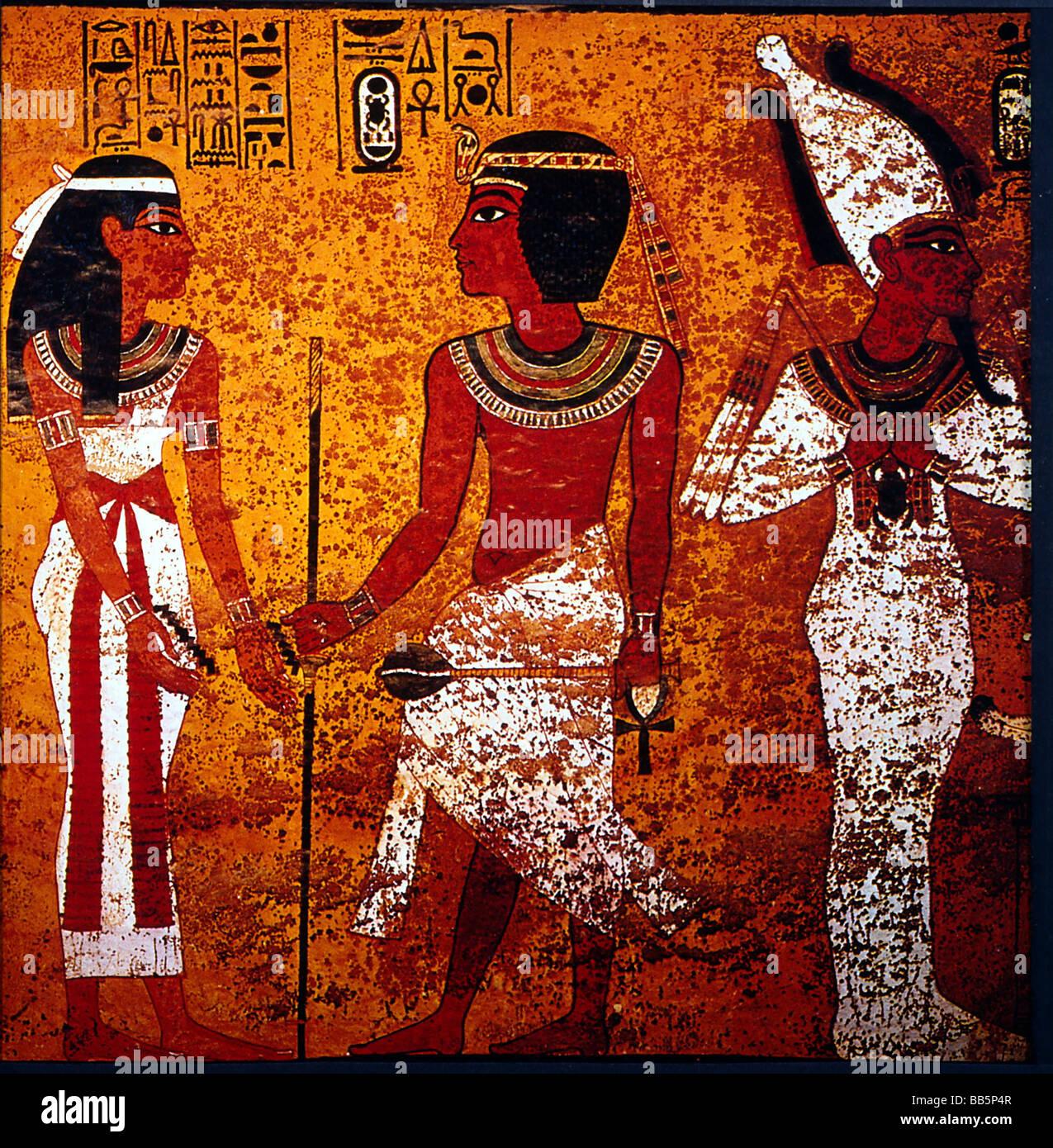 Tutankhamun, King of Egypt, 1333 - 1323 BC, 18th Dynasty, full length, with Goddes Nut and God Osiris, mural painting, - Stock Image