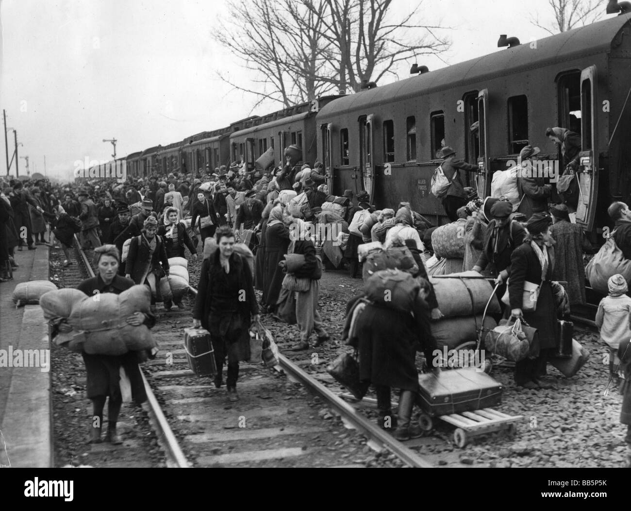 events, post war era, refugees, Camp Friedland, arrival of refugees from the east, November 1945, Additional-Rights - Stock Image