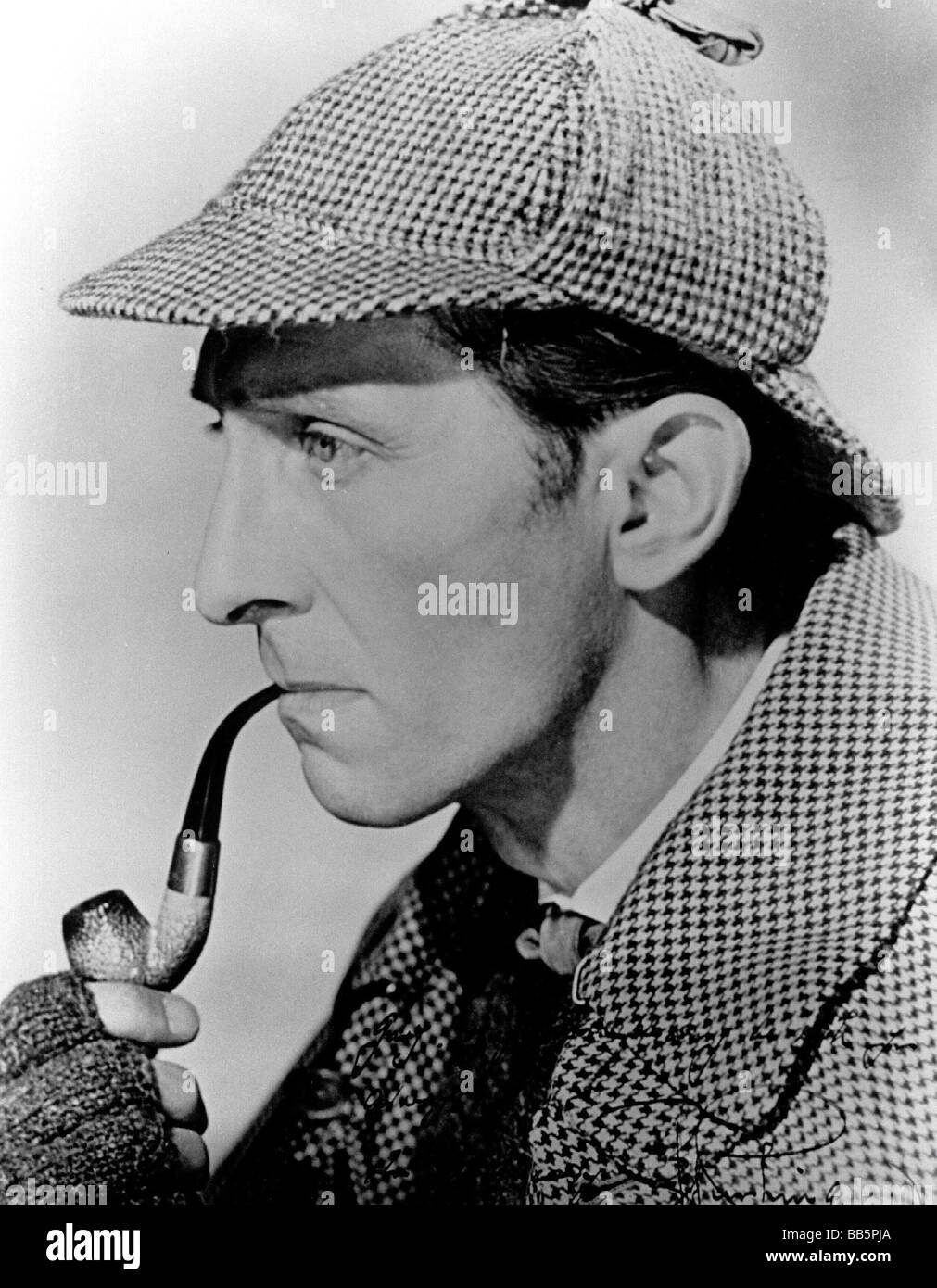 Sherlock Holmes, literary character by Sir Arthur Conan Doyle, Peter Cushing as the detective in 'The Hound - Stock Image