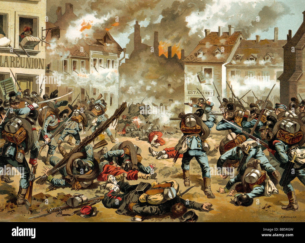 events, Franco-Prussian War 1870/1871, Battle of Sedan, 1.9.1870, Bavarian soldiers fighting in the streets, chromolithograph - Stock Image