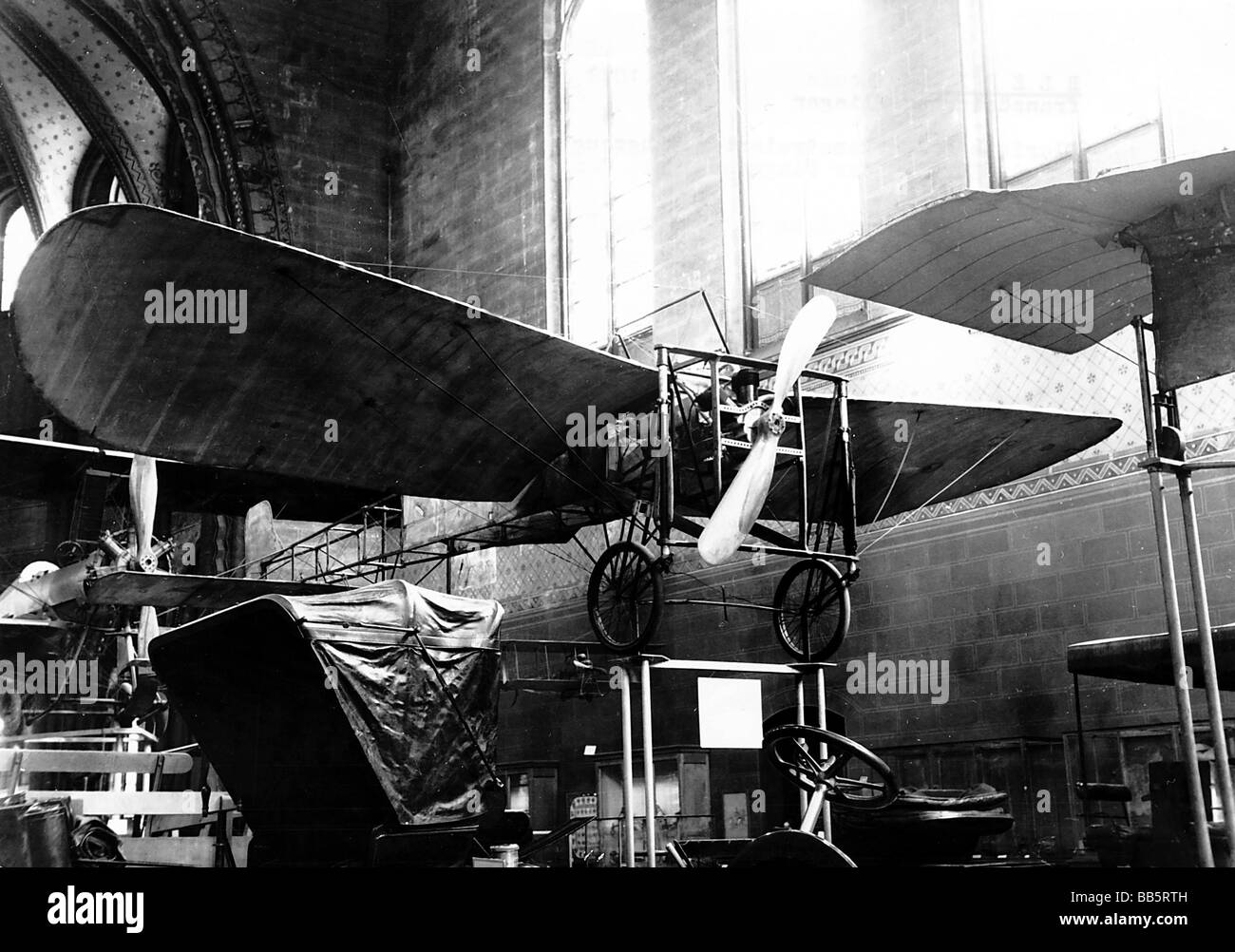 Bleriot, Louis, 1.7.1872 - 1.8.1936, French pilot pioneer, his self constructed aircraft, at exhibition, Paris, - Stock Image