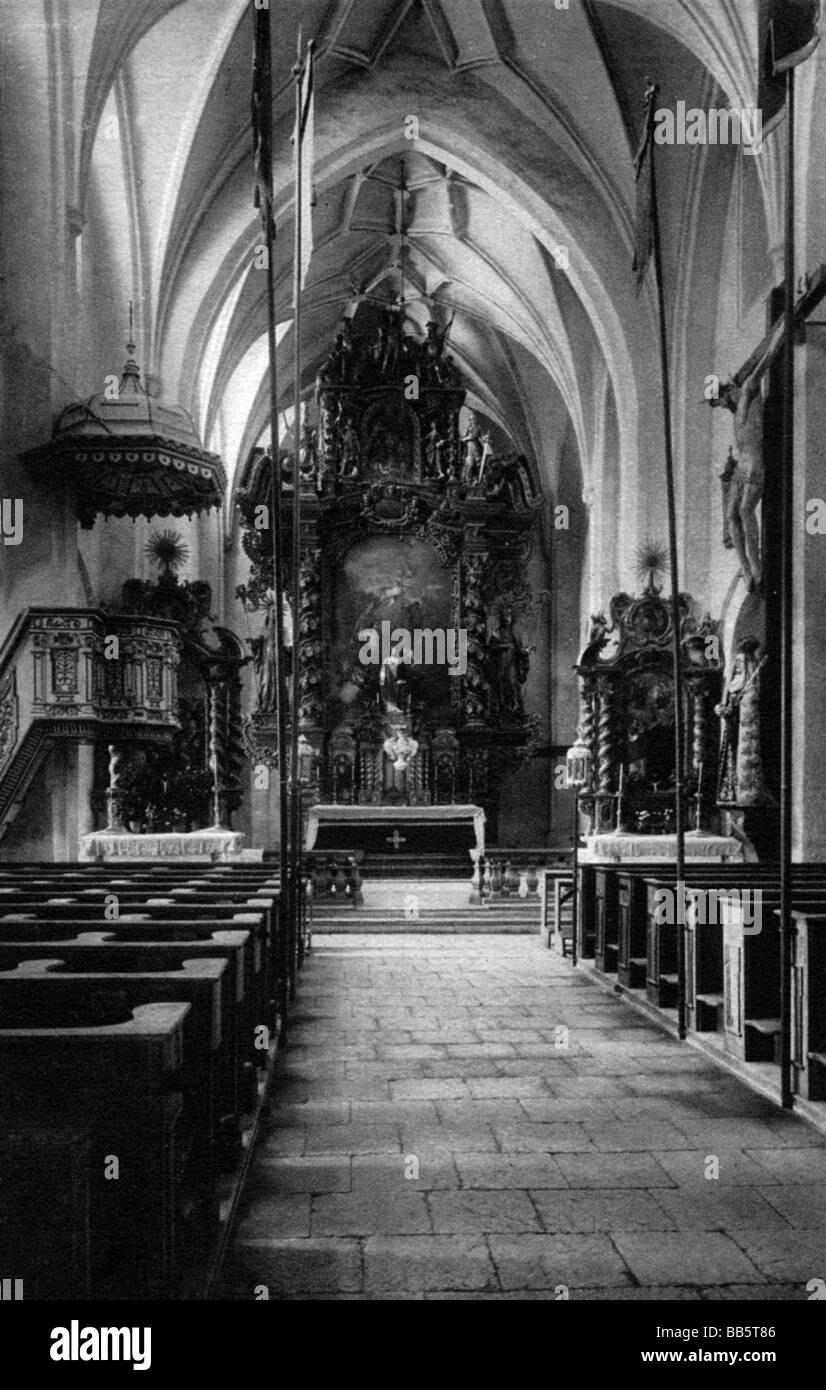 architecture, churches and monasteries, Germany, Frauenchiemsee Abbay, church, interior view, postcard, circa 1900, Stock Photo