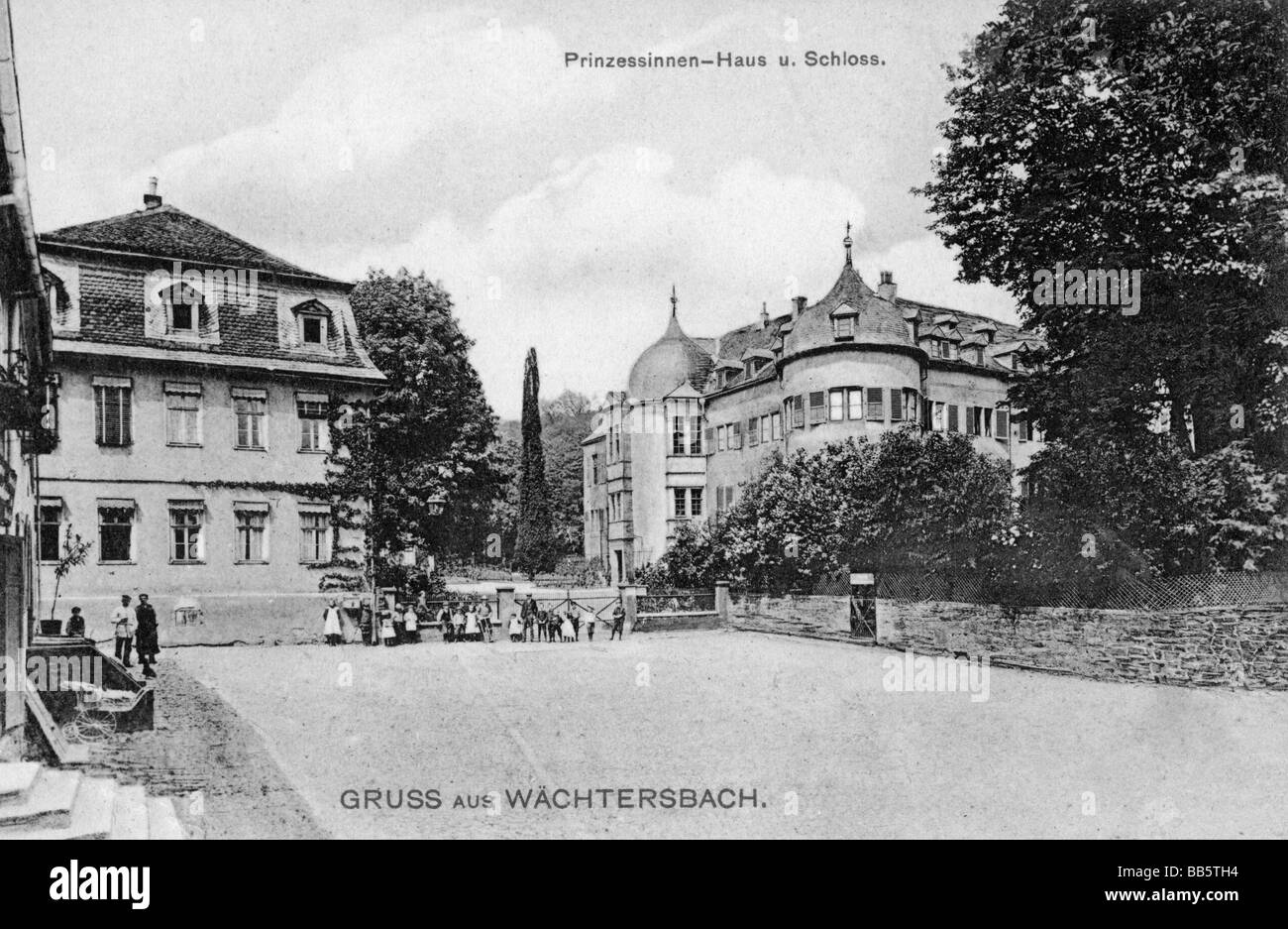 geography / travel, Germany, Waechtersbach, Castle and Princesses House, exterior view, postcard, published by Karl - Stock Image