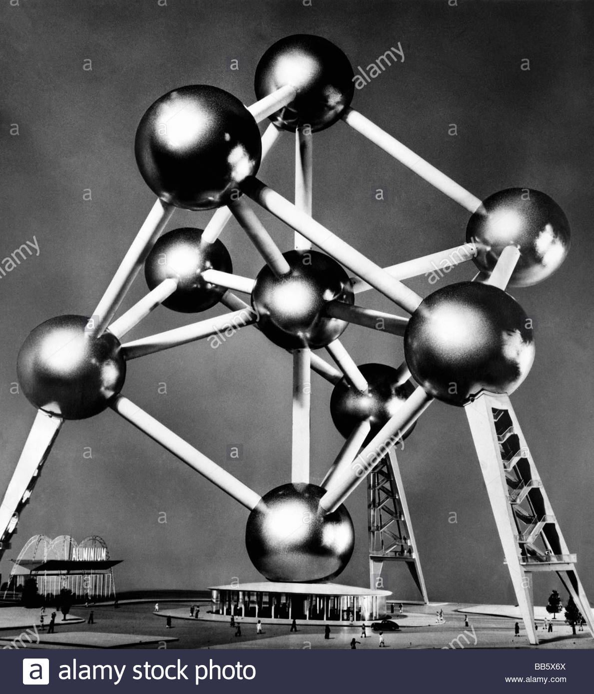 exhibition, world exposition, miniature of Atomium, Brussels, Belgium, 1958, Artist's Copyright must also be - Stock Image