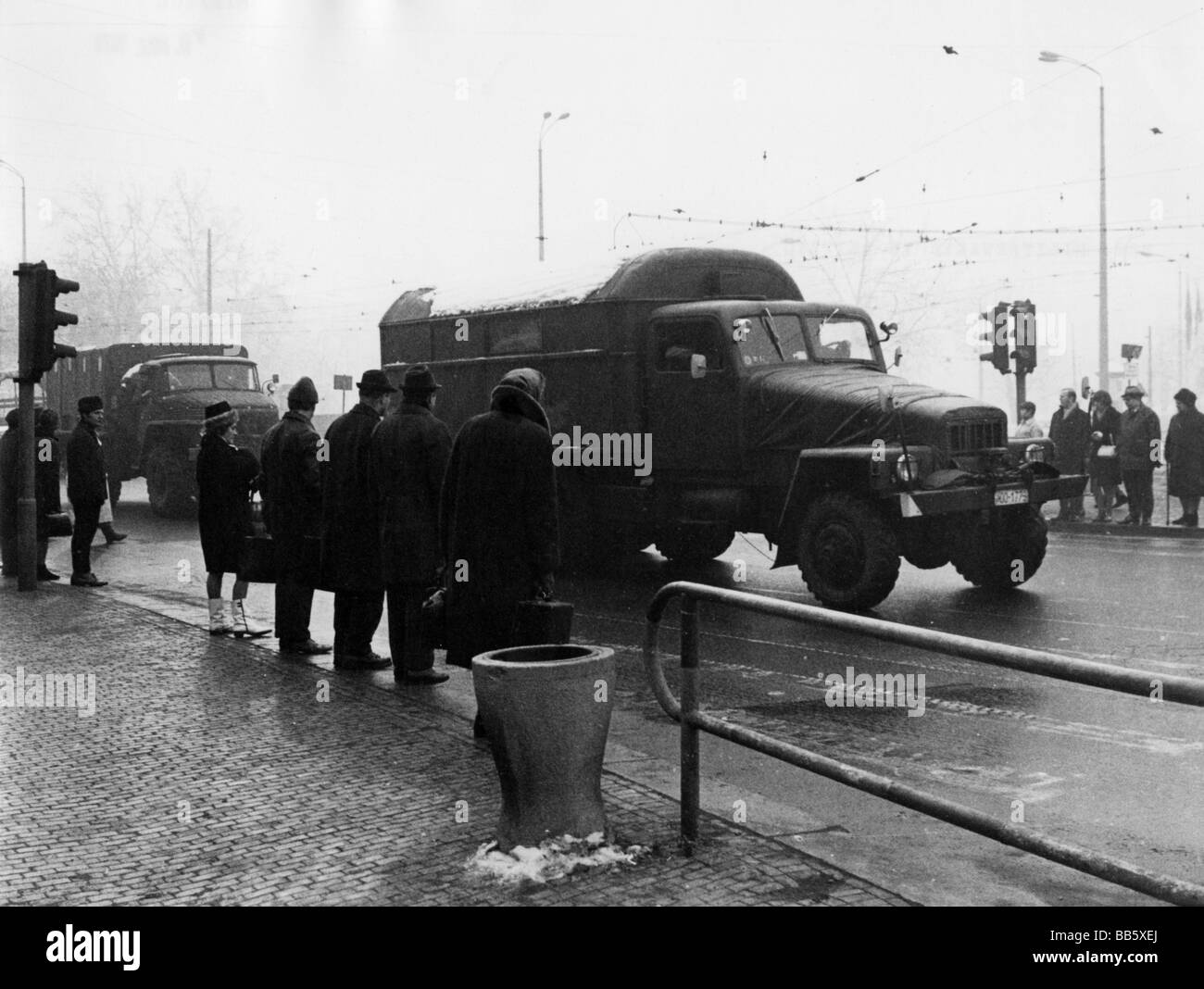 geography / travel, Germany, Leipzig, transport / transportation, army truck, 9.3.1970, Additional-Rights-Clearances - Stock Image