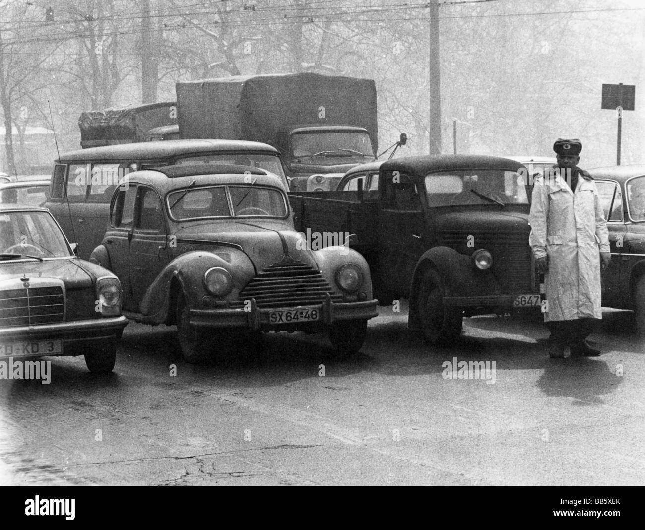 geography / travel, Germany, Leipzig, transport / transportation, traffic policeman, 9.3.1970, Additional-Rights - Stock Image