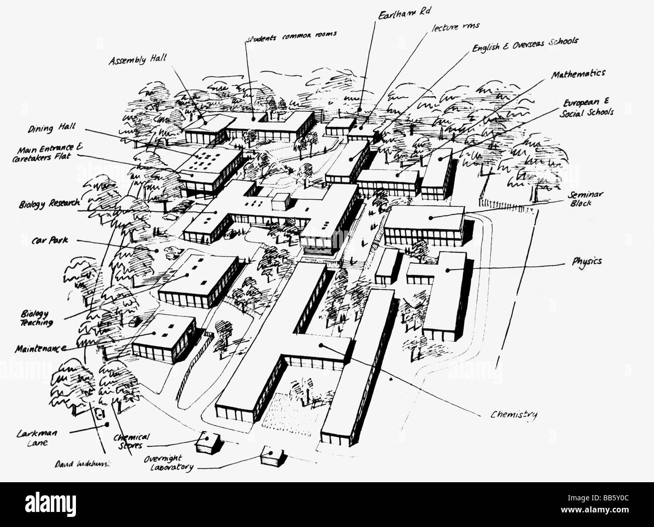 architecture, buildings, Great Britain, draft of the prefabricated village of University of East Anglia, 1960s, - Stock Image