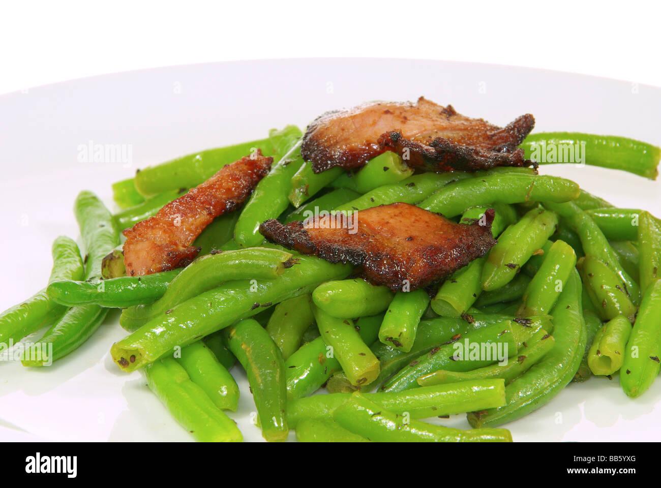 Bohnen mit Speck beans with ham 04 Stock Photo