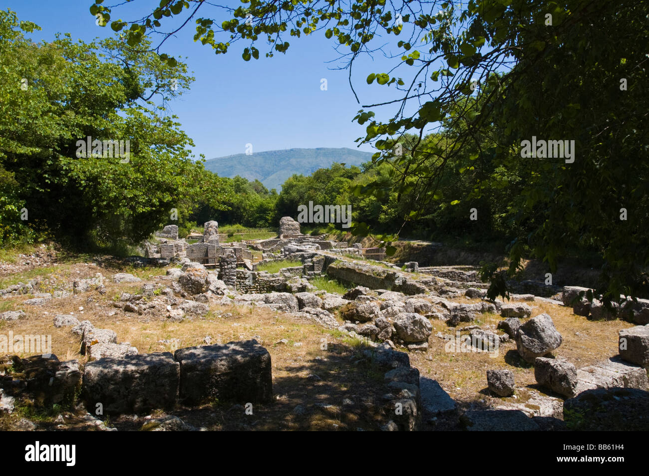 View over the Sanctuary of Asclepius in ancient Roman city of Butrint UNESCO World Heritage Site in the Republic - Stock Image
