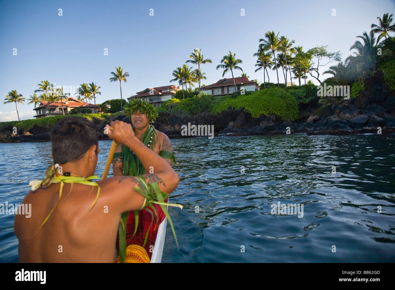 Wailea,Hawaii,USA,Hawaiian men paddling a canoe - Stock Image