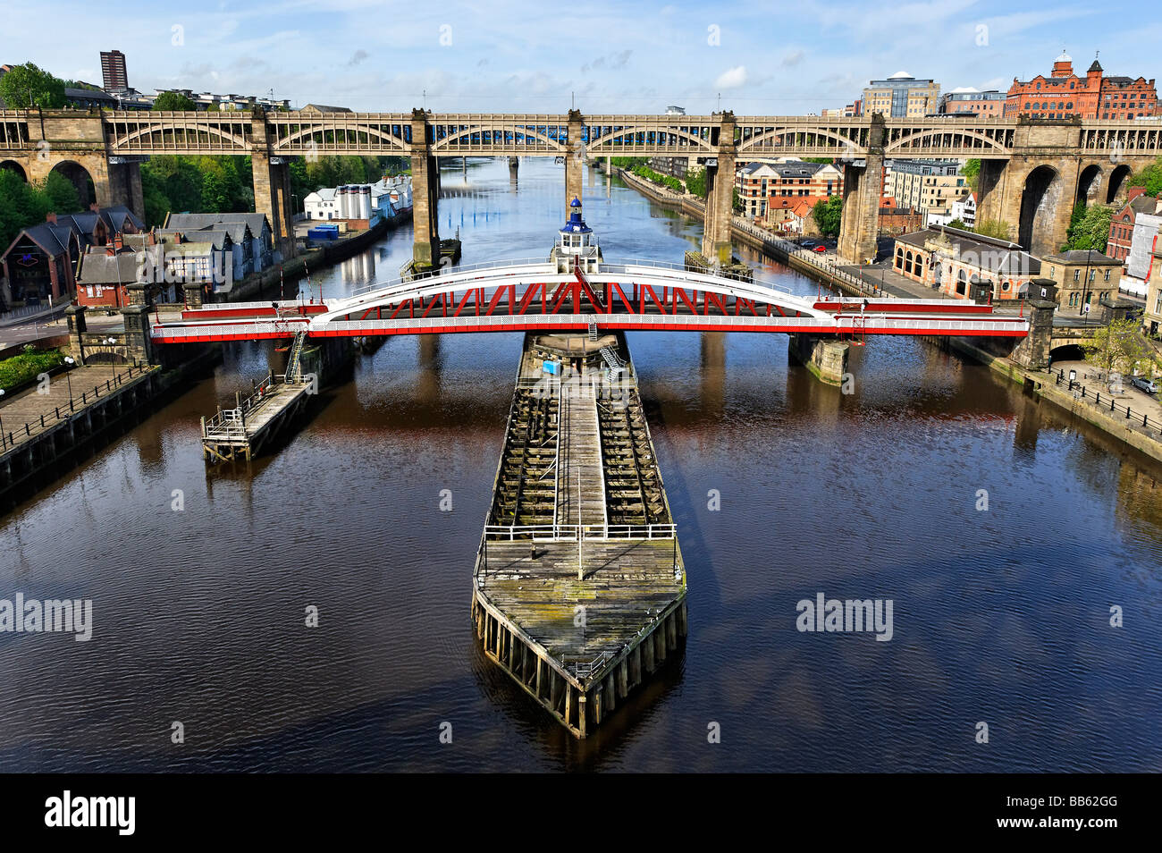 Swing Bridge, linking Gateshead and Newcastle-upon-Tyne - Stock Image