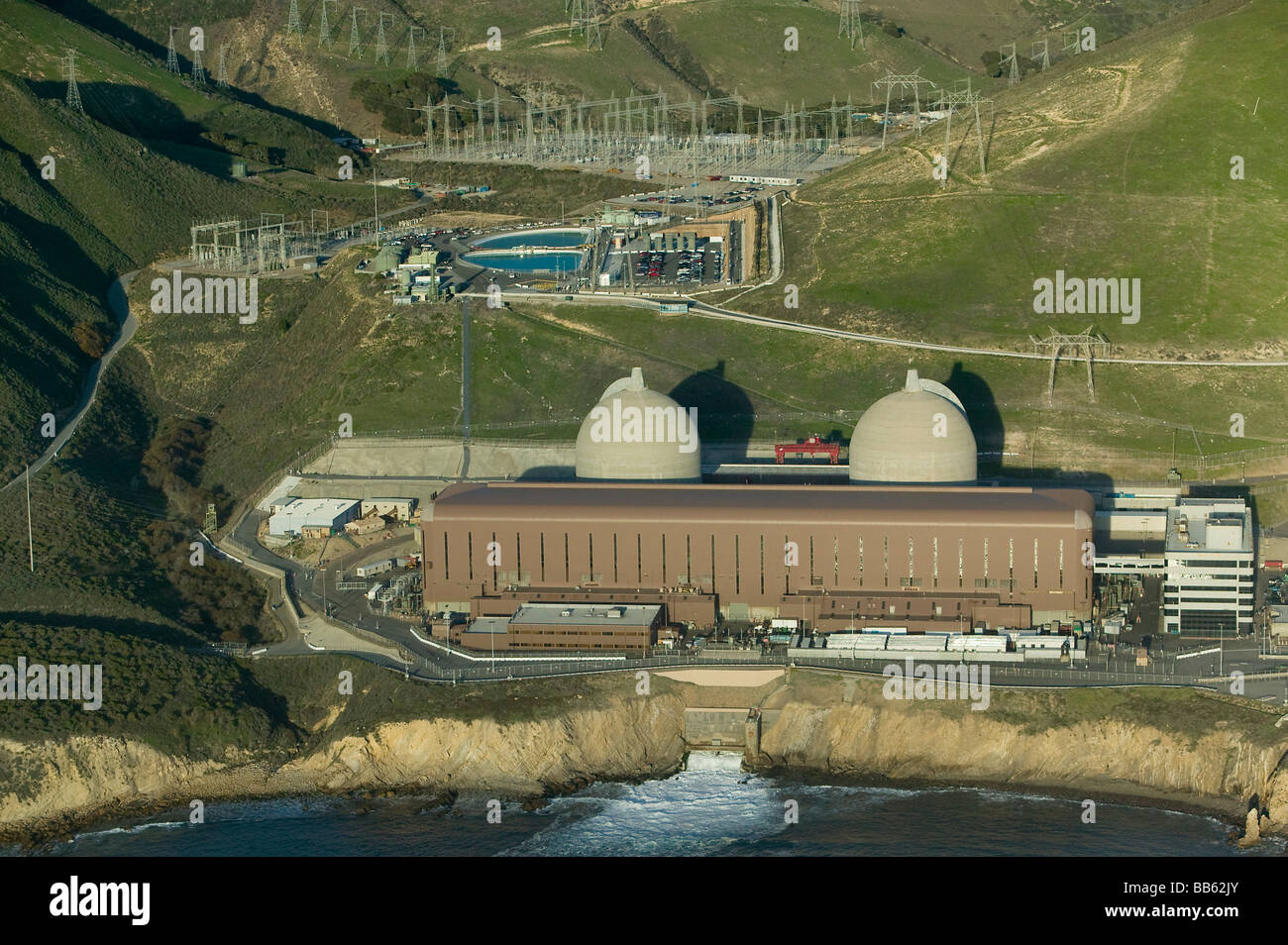 aerial above Diablo Canyon nuclear power plant Avila Beach California Pacific coast PG&E with two Westinghouse - Stock Image