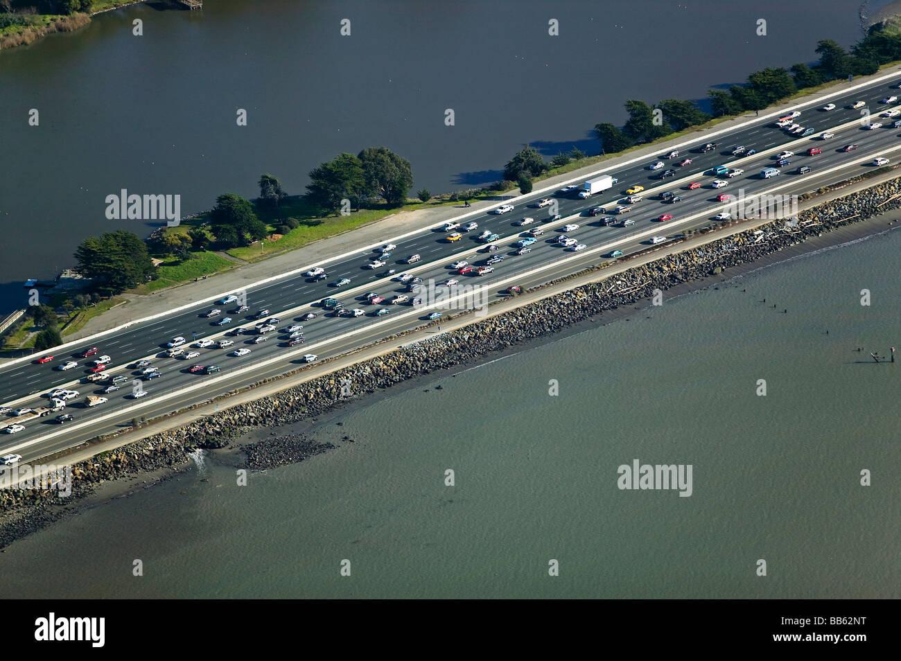 aerial view above rush hour commute traffic interstate 80 I-80 Berkeley California - Stock Image