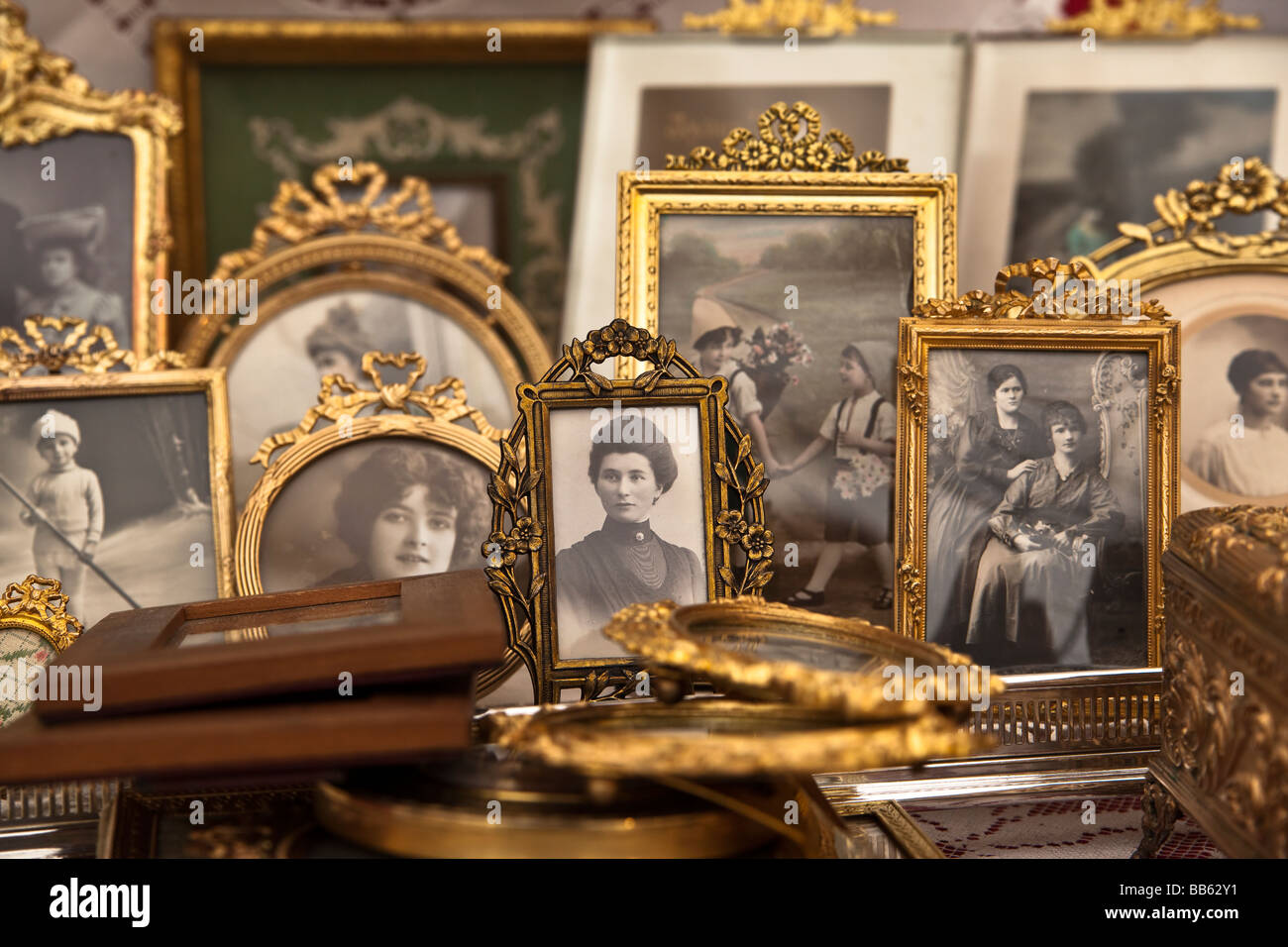 Antique photographs portraits in gold frames Neuchatel Switzerland. Charles Lupica - Stock Image