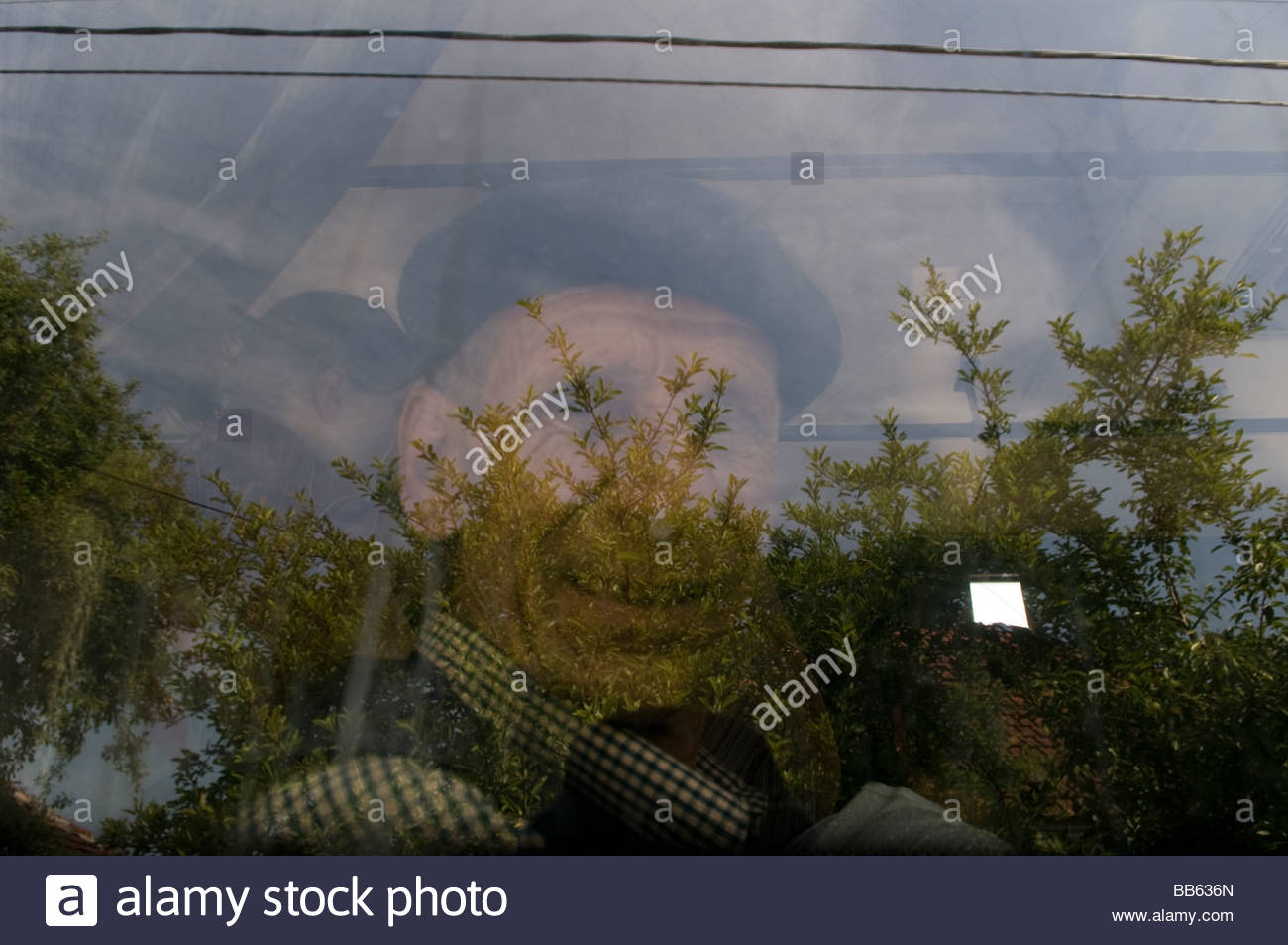 An old Bosniak man  in a bus Bosnia Herzegovina - Stock Image