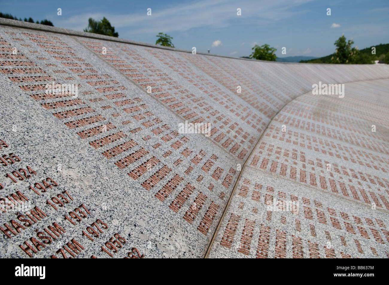 Wall of names at Srebrenica Potocari Genocide memorial and cemetery for over 3000 victims of the 1995 Genocide in Stock Photo